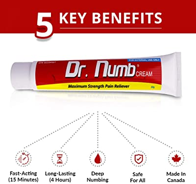 Dr. Numb 5% Lidocaine Topical Numbing Cream for Instant Pain Relief