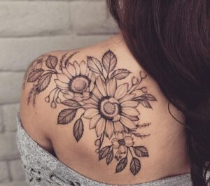 awesome-black-gray-sunflower-tattoo-by-Ariana-Roman-1