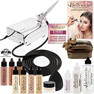 Belloccio Deluxe Airbrush Cosmetic Makeup Set with 4 x Foundation Shades